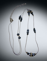 Iridescent  Gunmetal Swarovski Crystal Adjustable Rope