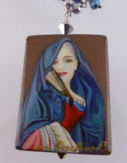"Handpainted Russian Jewelry: ""Lady with the Veil"" by Roslin"