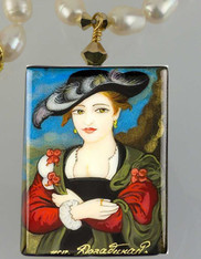 Hand Painted Russian The Straw Hat by Rubens Pendant and Pearl Necklace