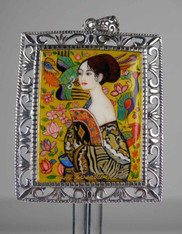 "Handpainted Russian Jewerly :""Framed Portrait of Lady with Fan"" by Klimt"