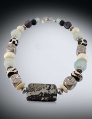 BACK IN STOCK Tribal Collage Statement Necklace: Australian Jasper  ONLY ONE!