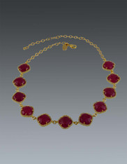 Gold Bezel Set  White CZ and Faceted Ruby Pillow Adjustable Necklace