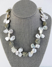 Grade AAA High Luster Ivory Petal Pearls with Gold Flecked Pyrite