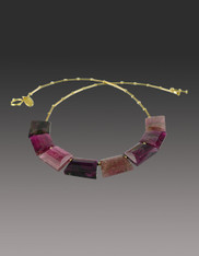 Opulent Step-cut Tourmaline Nesting 18K Necklace