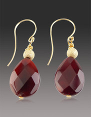 Burmese Ruby Teardrop Earrings 14K
