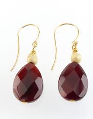 Burmese Ruby Teardrop Earrings 14K