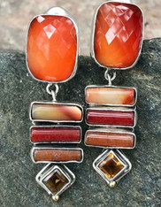 Echo of the Dreamer Carnelian Citrine Dangle Clip Earrings