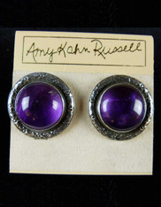 Amy Kahn Russell Large Grade AA Deep Amethyst Sterling Clip/Post Earrings