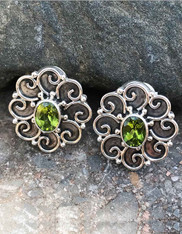 Echo of the Dreamer Peridot Filigree Silver Clip Earrings
