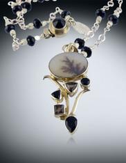 Russian Dendritic-Agate-garnet-sterling-pendant