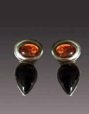 Amy Kahn Russell Baltic Amber Onyx Sterling Clip/Post Earrings