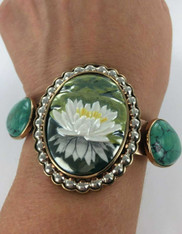SALE- Amy Kahn Russell Carved Enamel Waterlily Turquoise Sterling Bronze Cuff Bracelet