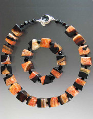 Geometric Agate Cube Necklace/Bracelet Set