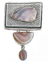 Amy Kahn Russell Hand-Carved Agate Fish Sterling Pin/Pendant
