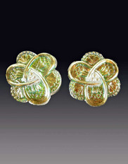 Amy Kahn Russell NWT Iridescent Austrian Glass Button Sterling Clip/Post Earrings