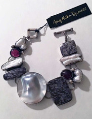 Amy Kahn Russell NWT Flowering Jasper, Garnet, Blister Pearl Sterling Bracelet  SOLD
