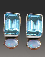 Amy Kahn Russell faceted Blue Topaz Opal Clip/Post Earrings