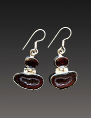 Wine Coconut Geode with Garnet Top and Sterling Earwires