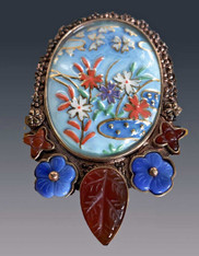 Amy Kahn Russell Large Porcelain Floral Multi-Gem Bronze Pin/Pendant