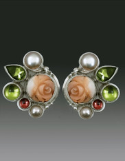Echo of the Dreamer New Angelskin Coral Flower Peridot Pearl Post Earringss