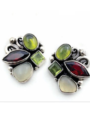 Echo of the Dreamer New Garnet Peridot Moonstone Sterling Post Earringss