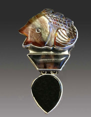 Amy Kahn Russell Hand Carved Agate Fish Sterling Pin/Pendant