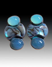 Amy Kahn Russell Aquamarine Abalone Chalcedony Sterling Clip/Post Earrings
