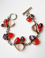 Echo of the Dreamer Coral, Amethyst, Garnet, Rose Quartz, Sterling Toggle Bracelet SOLD