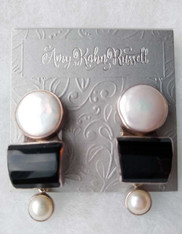 Amy  Kahn Russell Mabe Pearl Onyx Sterling Dangle  Post/Clip Earrings