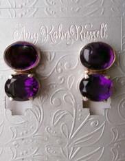 Amy Kahn Russell Double Amethyst Sterling Clip/Post Earrings