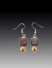 Brazilian Druzy Citrine Sterling Drop Earrings