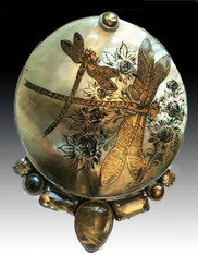 Amy Kahn Russell Handpainted Russian Dragonfly  Precious Gem Pin/Pendant SOLD