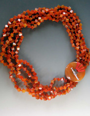Carnelian Dice with Disc Toggle Clasp