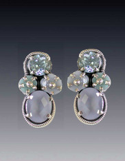 Amy Kahn Russell Hand Carved Blue Topaz Chalcedony Clip/Post Earrings