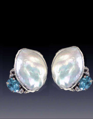 Amy Kahn Russell Mabe Pearl Faceted Blue Topaz Sterling Clip/Post Earrings
