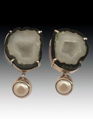 Amy Kahn Russell Natural Druzy Pearl Sterling Clip/Post Earrings