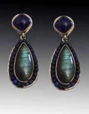 Amy Kahn Russell  Lapis Labradorite Sterling Dangle Post Earrings SOLD