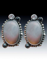 Echo of the Dreamer Silver Mother of Pearl White Topaz Sterling Clip Earrings