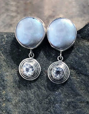 Echo of the Dreamer Mabe Pearl White Topaz Sterling Clip Earrings