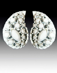Amy Kahn Russell White Crystal Sterling Teardrop Clip/Post Earrings