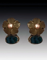 Amy Kahn Russell Apatite Chalcedony Pearl Flower Sterling Clip/Post Earrings