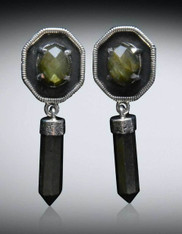 Amy Kahn Russell Double Labradorite Sterling Dangle Clip/Post Earrings