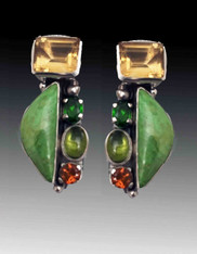 Amy Kahn Russell Gaspeite, Citrine Peridot Gemstone Peapod Clip/Post Earrings