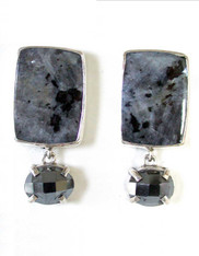 Amy Kahn Russell Norwegian Moonstone Hematite Sterling Clip/Post Earrings