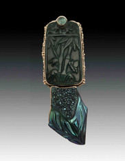Amy Kahn Russell Carved Jade, Apatite, Brazilian Druzy Sterling Pin/Pendant
