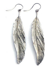 Silver Seasons Sterling Silver Textured Dangle Leaf Earrings