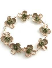 Silver Seasons  Linked Dogwood Bronze Sterling Bracelet