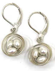 Sterling Seasons Pearl Nest Sterling Earrings