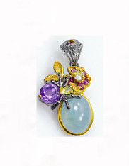 Grade AA Aquamarine Amethyst Precious Gemstone Pendant Sterling Necklace