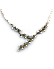 Silver Seasons Pearl Patina Bronze Branch Necklace